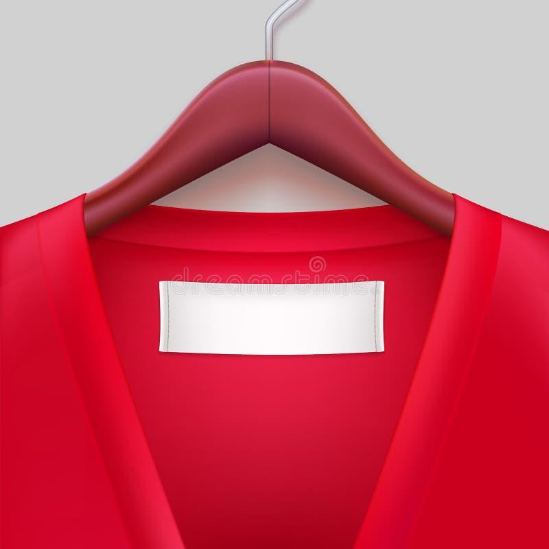 T-shirt com a etiqueta que pendura em um gancho ilustração stock