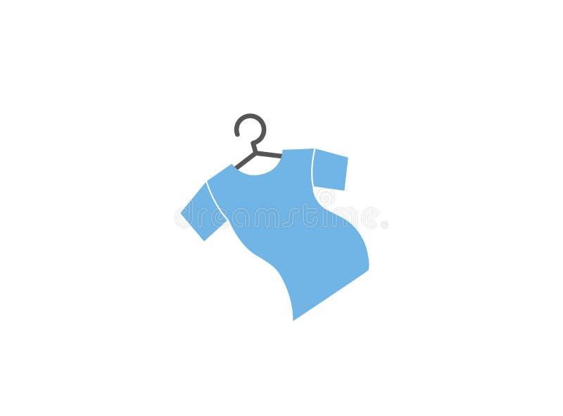 T-shirt com gancho de roupa e T para a ilustração do projeto do logotipo ilustração royalty free