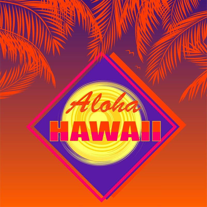 T-shirt com rotulação de Aloha Hawaii, folhas de palmeira alaranjadas do coco, sol no fundo escuro do por do sol ilustração stock