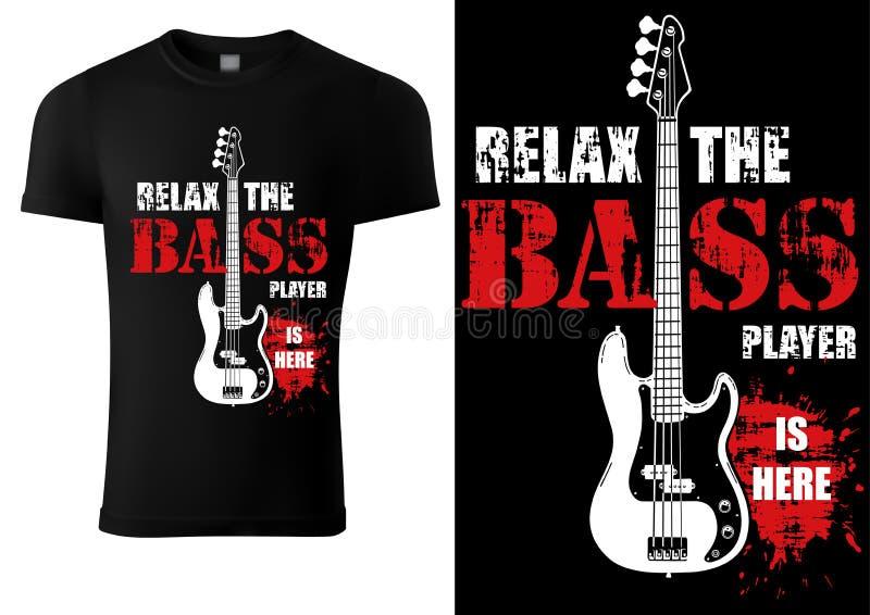 T-shirt com slogan musical e Bass Guitar ilustração royalty free