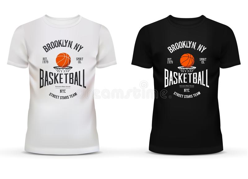 T-shirt cotton sportswear with basketball theme. Adult or teenager wear with ball and basket saying brooklyn new york or NYC. Can be used for sport shop royalty free illustration
