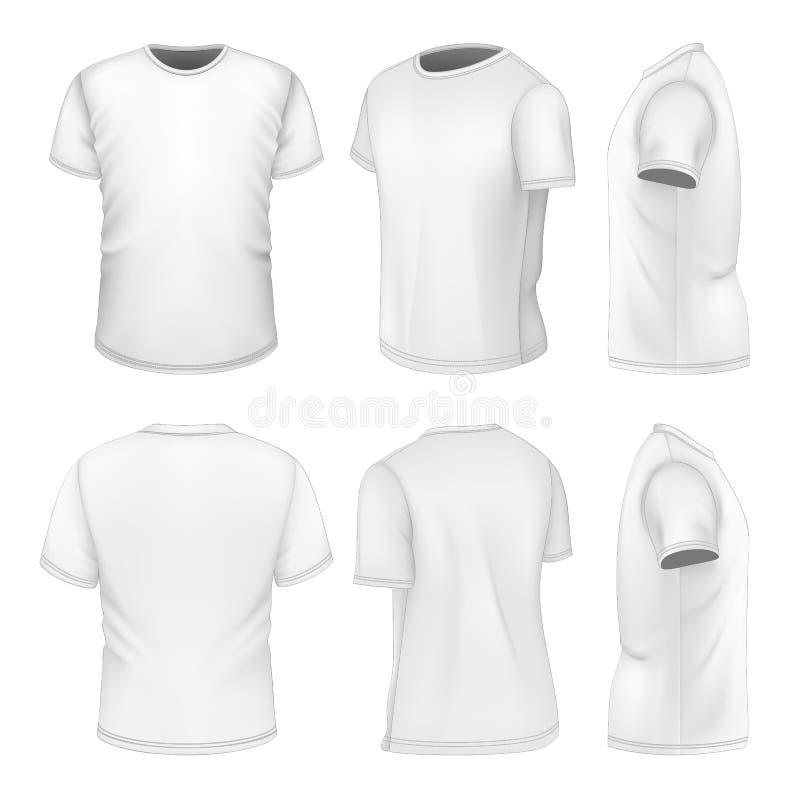 T-shirt court blanc de la douille de chacun des six hommes de vues illustration stock
