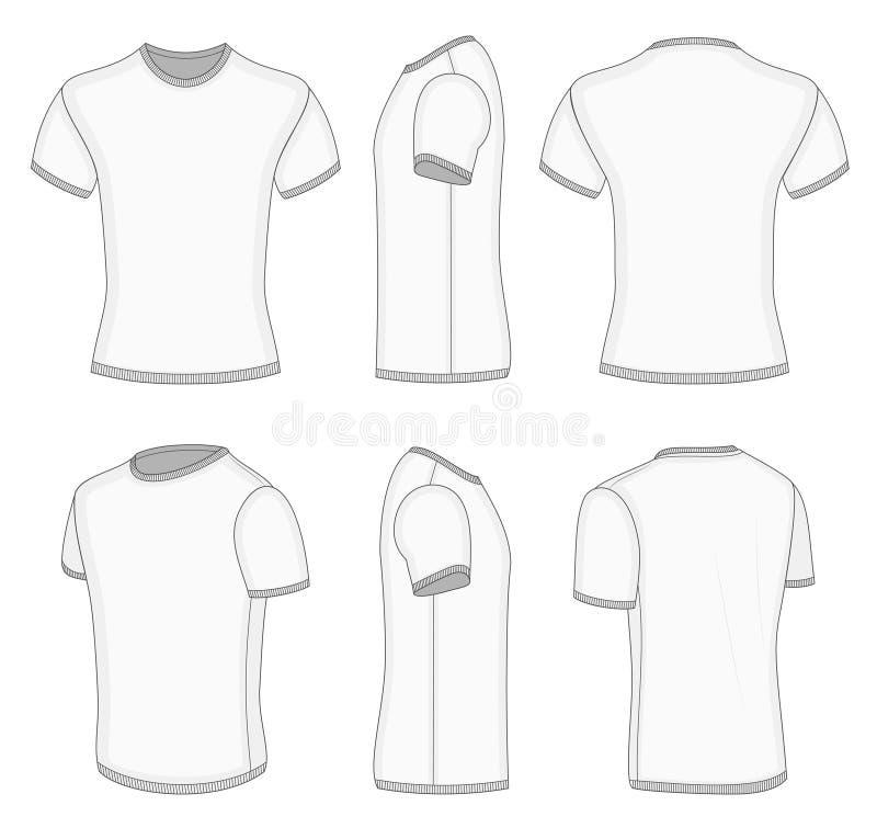 T-shirt court blanc de la douille des hommes. illustration libre de droits