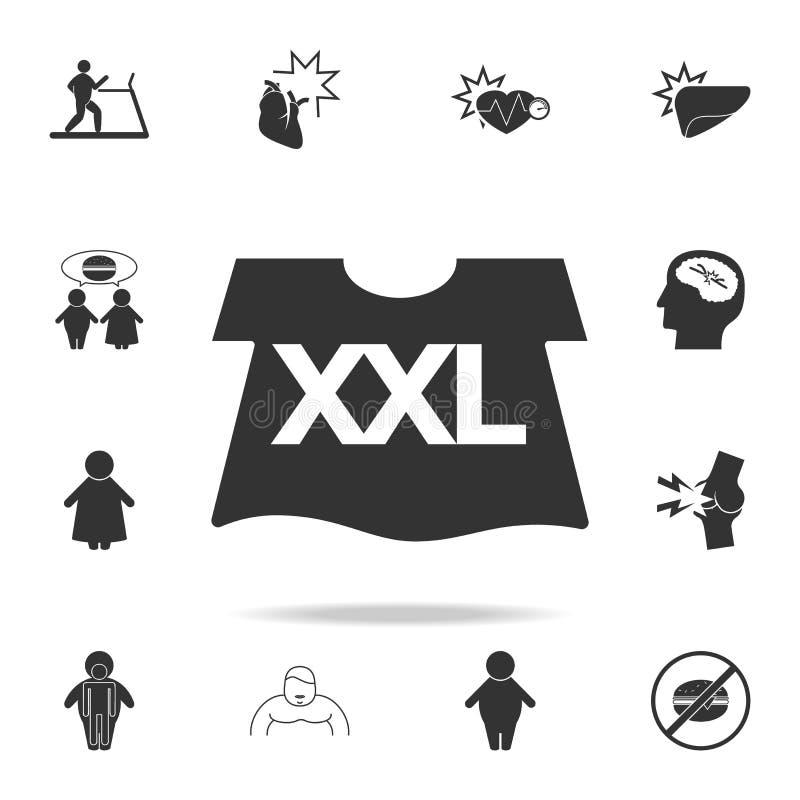 T-shirt d'une icône de grande taille Ensemble détaillé d'icônes d'obésité Conception graphique de la meilleure qualité Une des ic illustration stock