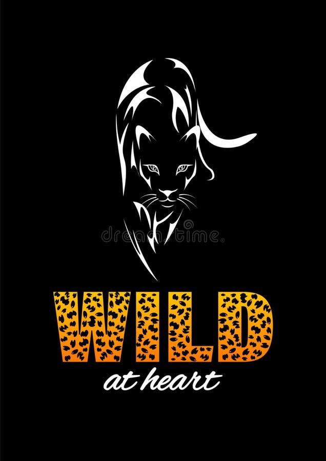 T-shirt da cópia de Jaguar Slogan selvagem no coração ilustração stock
