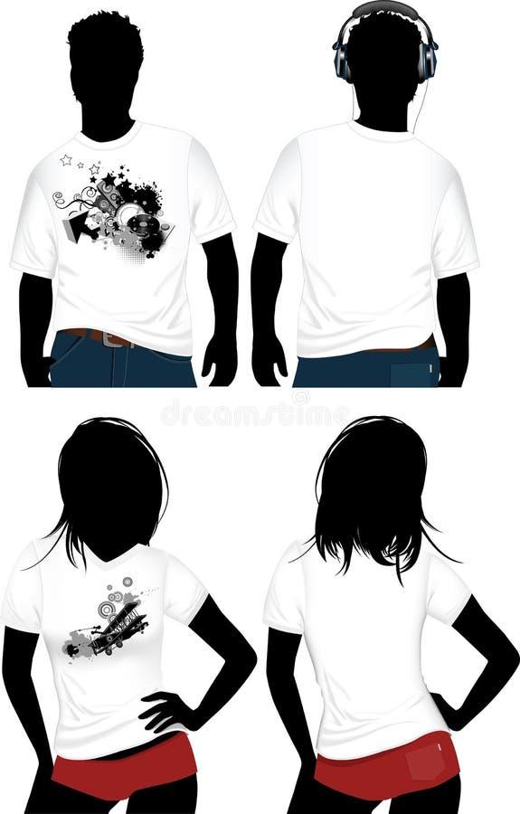 T-shirt da mulher e do homem. ilustração stock