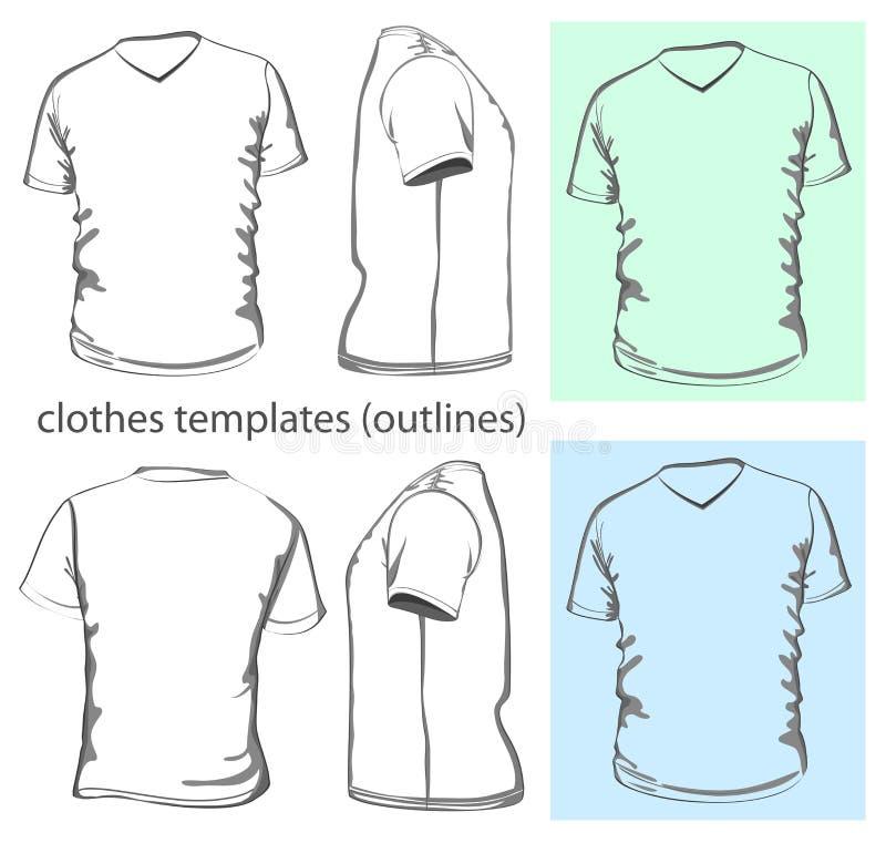T-shirt da v-garganta dos homens ilustração royalty free