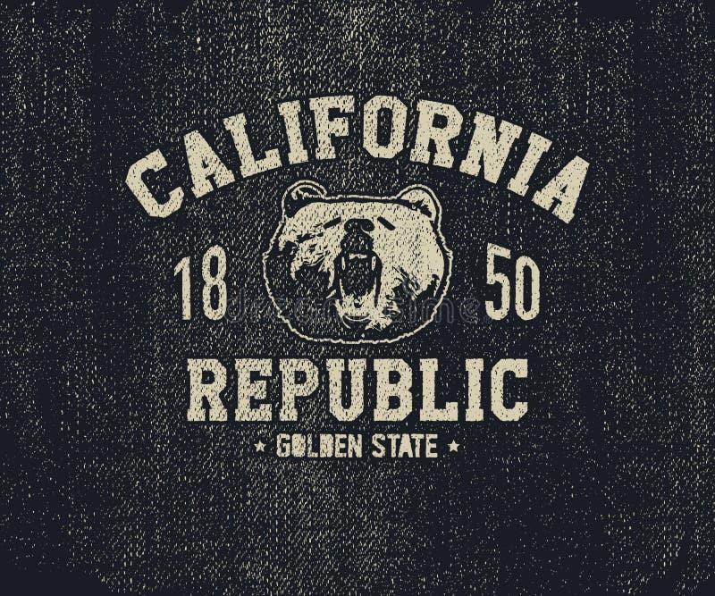 T-shirt de Califórnia com cabeça do urso pardo ilustração stock