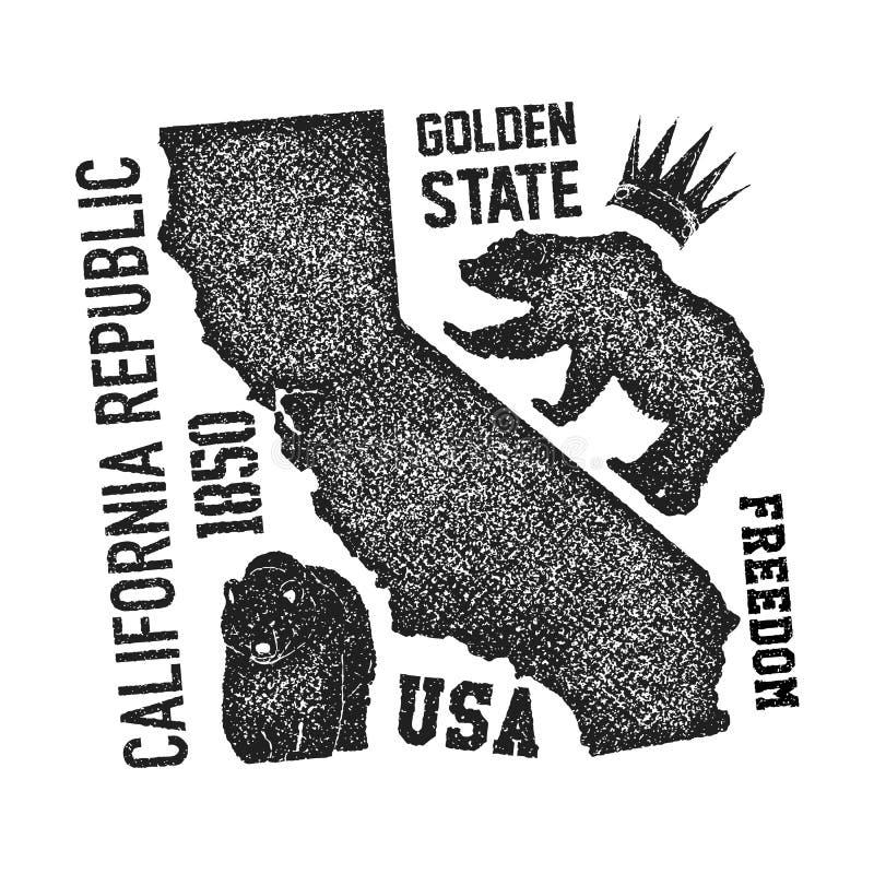 T-shirt de Califórnia com urso pardo ilustração do vetor
