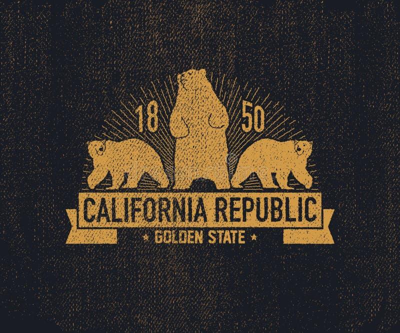 T-shirt de Califórnia com urso pardo ilustração royalty free