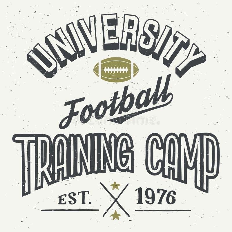 T-shirt de camp d'entraînement du football d'université illustration de vecteur