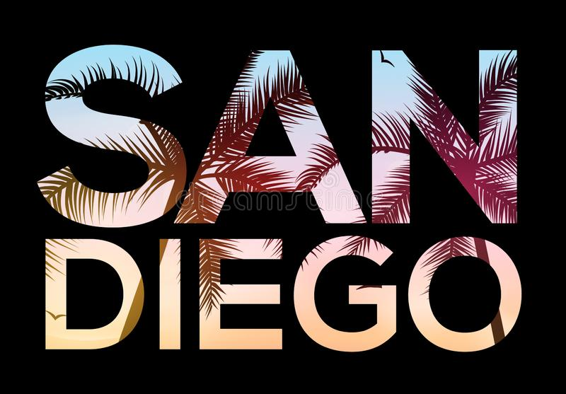 T-shirt de conception de plage de San Diego California, illustration tropicale de rétro ressac de cru de l'été San Diego illustration libre de droits
