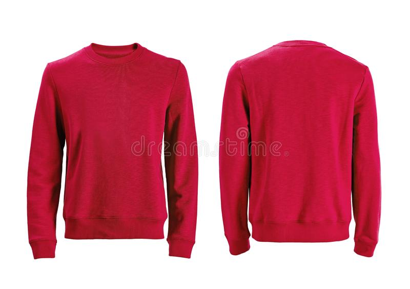 T-shirt de douille du ` s d'hommes long avec l'avant et les vues arrières d'isolement dessus photos stock