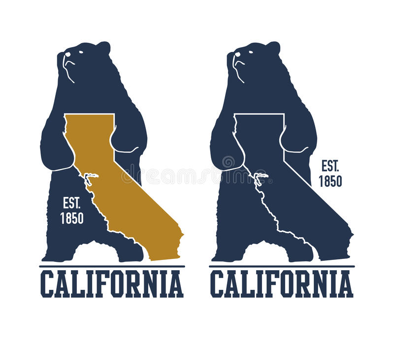 T-shirt de la Californie avec l'ours gris illustration libre de droits