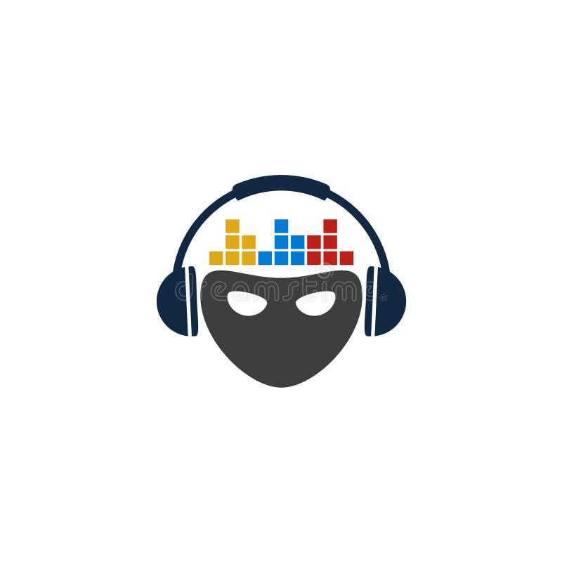 T-shirt de logo d'illustration de masque du DJ illustration libre de droits