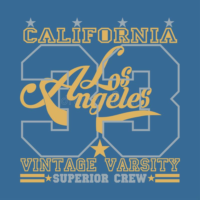 T-shirt de Los Angeles, graphique de la Californie, conception d'emblème de sport illustration stock