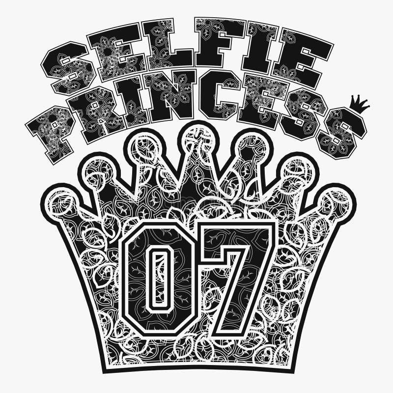 T-shirt de princesse de Selfie illustration stock