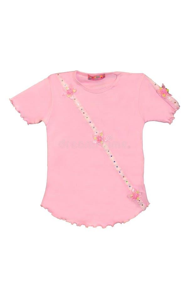 T-shirt de rose de fille d'enfants d'isolement photographie stock libre de droits