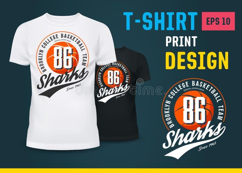 T-shirt de vêtements de sport avec la copie pour l'équipe de basket illustration stock