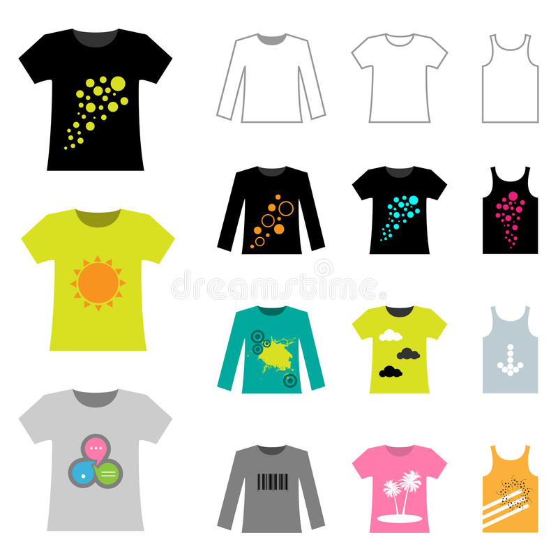 T-shirt design. Set of male t-shirt design isolated on white background.EPS file available