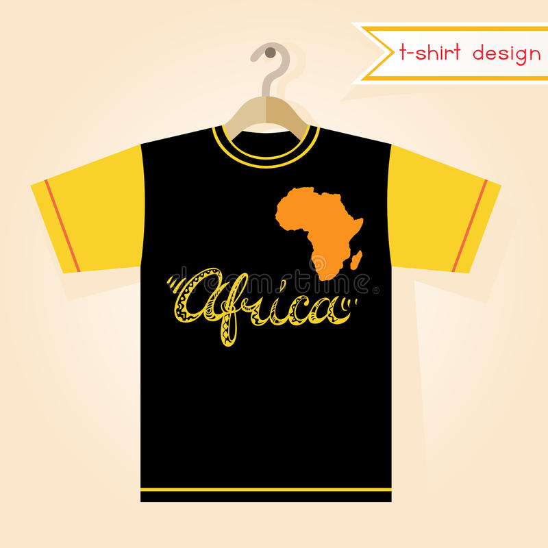 Black And Yellow Short Sleeved Tee Shirt Print Template Doodle Style Freehand Lettering Abstract Map Element Vector Illustration