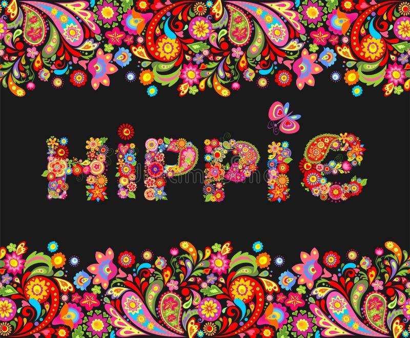 T-Shirt Design auf schwarzem Hintergrund mit den bunten Blumengrenz- und Hippieblumen, die Druck beschriften lizenzfreie abbildung
