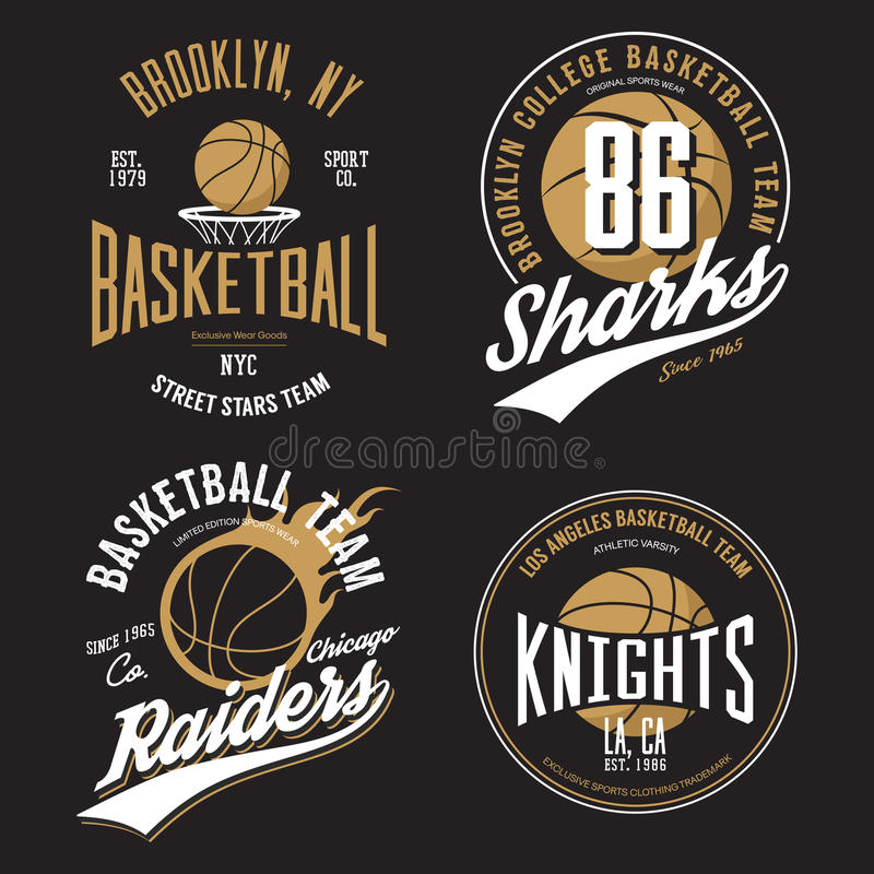 T-shirt design for basketball fans for usa new york brooklyn street team, knights college team and chicago raiders. With balls emblems. Can be used for banner vector illustration