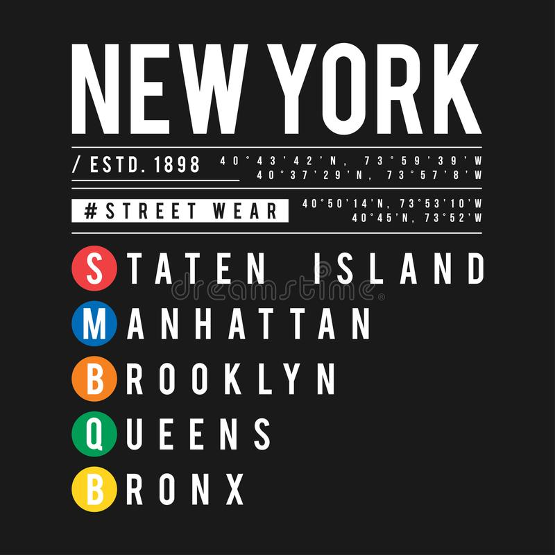 T-shirt design in the concept of New York City subway. Cool typography with boroughs of New York for shirt print. T-shirt graphic. In urban and street style vector illustration