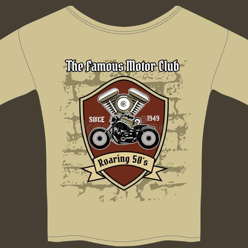 T-Shirt Design für eine Motorradwerkstatt lizenzfreie abbildung