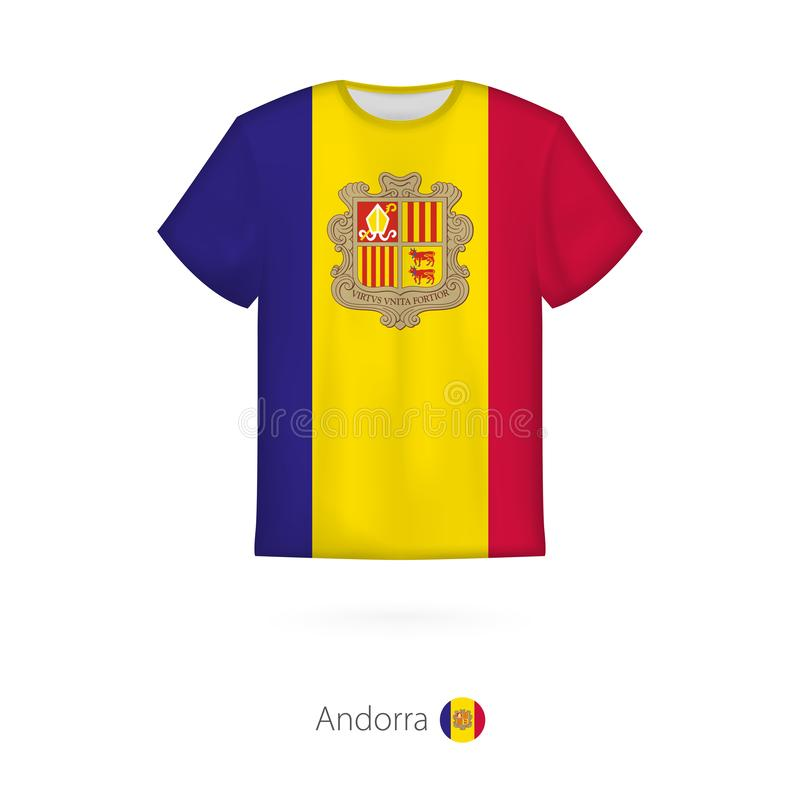 T-shirt design with flag of Andorra stock illustration