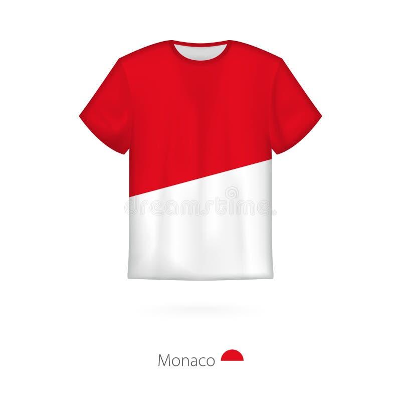 T-shirt design with flag of Monaco stock illustration