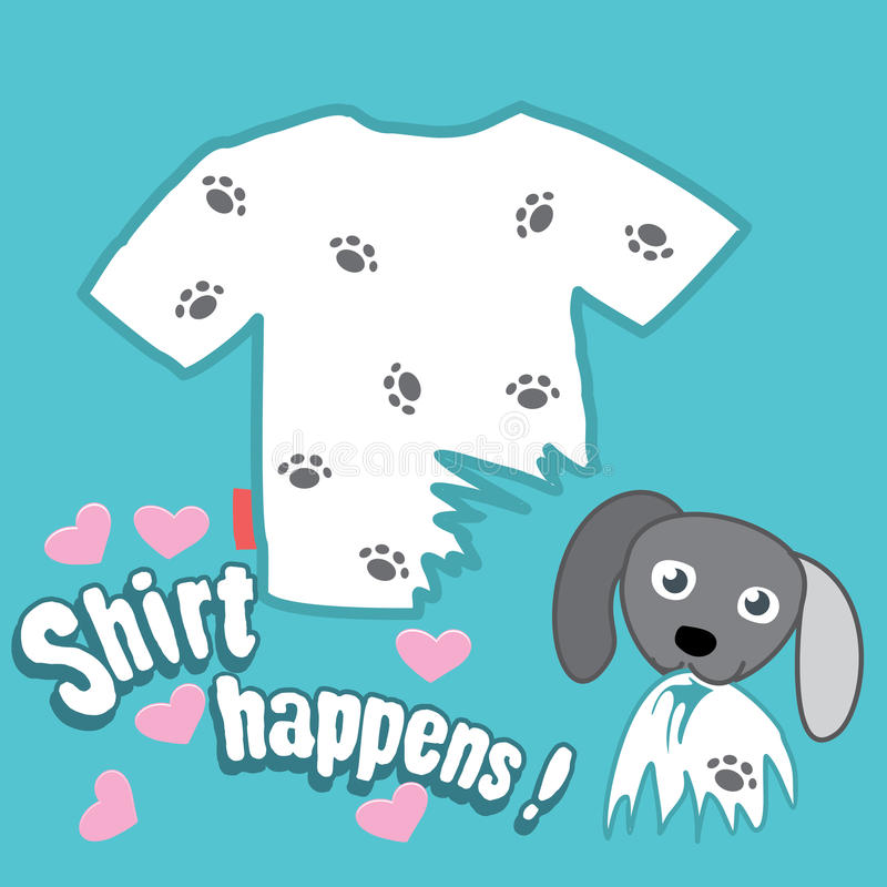 T-shirt design. Funny dog soiled and torn white T-shirt of his owner with love. funny t-shirt design print with idiomatic phrase. vector illustration stock illustration