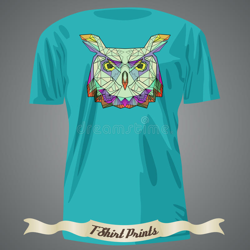 T-shirt design with Head of colorful Owl in linear graphic design vector illustration