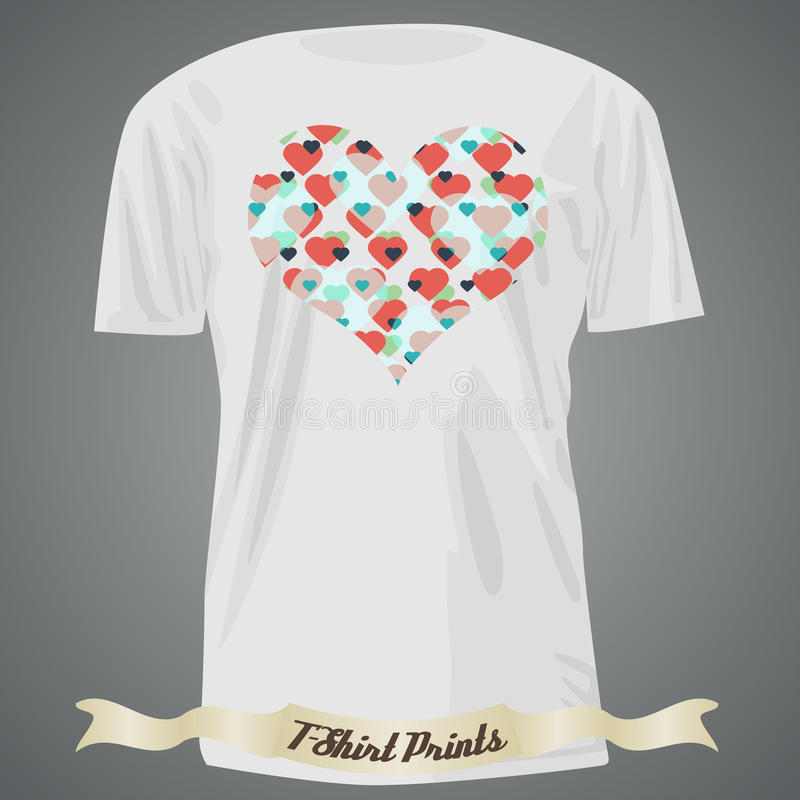 T-shirt design with heart made of small hearts. Illustration stock illustration