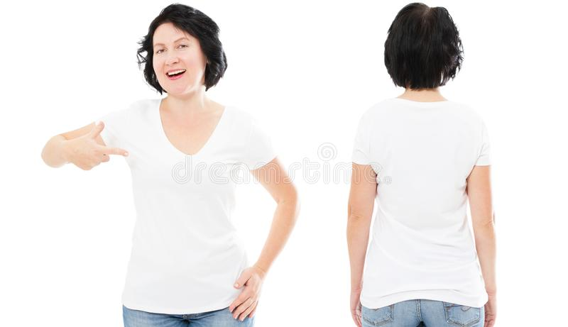 T-shirt design and people concept - close up of beautiful brunette woman in blank white t-shirt, shirt front and rear isolated. royalty free stock image