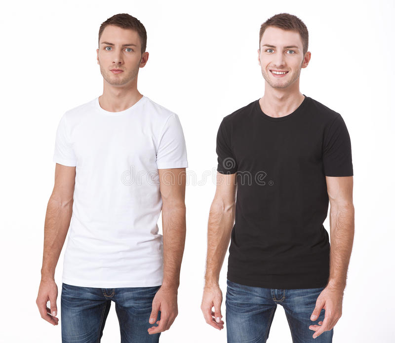 T-shirt design and people concept - close up of young man in blank white t-shirt. Clean shirt mock up for design set. stock photography