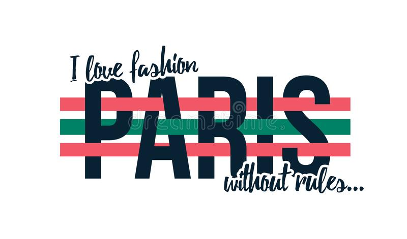 T-shirt design with slogan. I love fashion without rules, slogan for t shirt print stock illustration