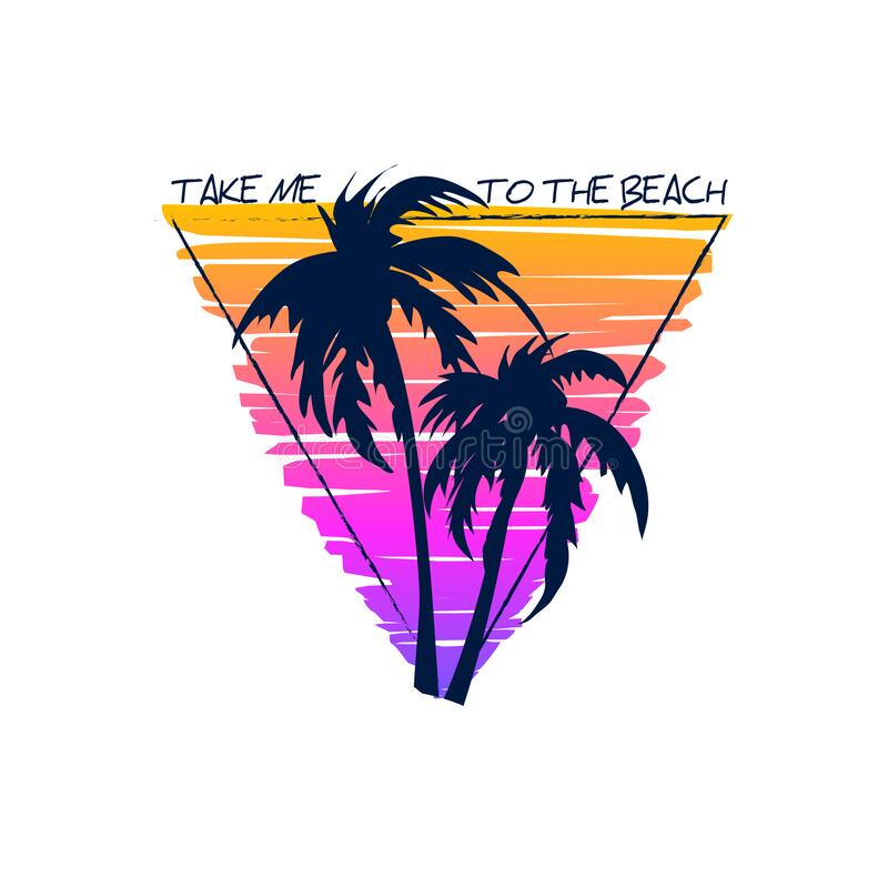 Free T-shirt Design With Silhouette Of Palm Trees.Typography Graphics For Apparel.Vector Illustration Royalty Free Stock Image - 209153096
