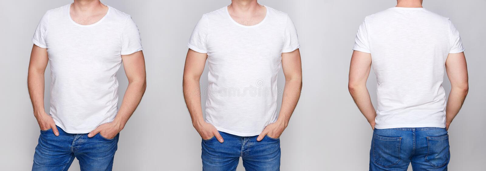 T-shirt design - young man in blank white tshirt front royalty free stock image