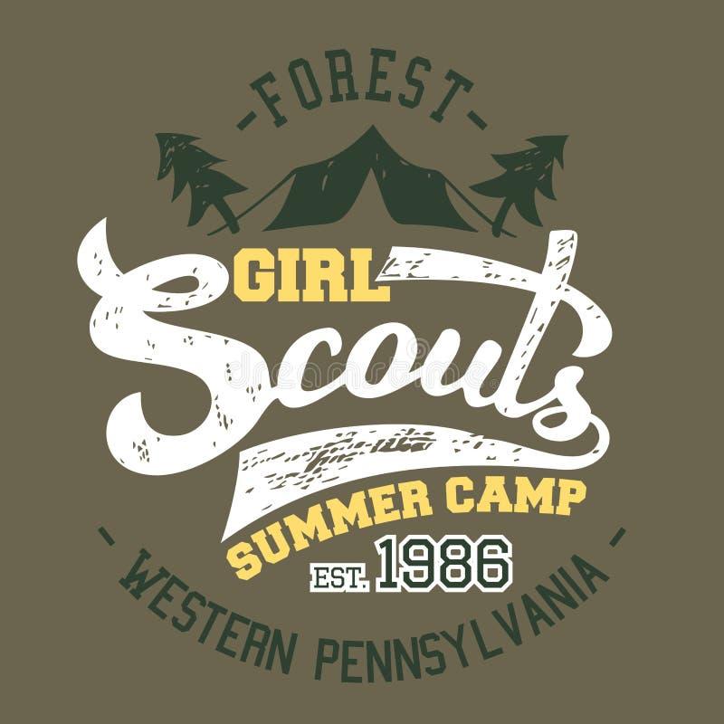 T-shirt do acampamento de verão das escuteiras ilustração royalty free