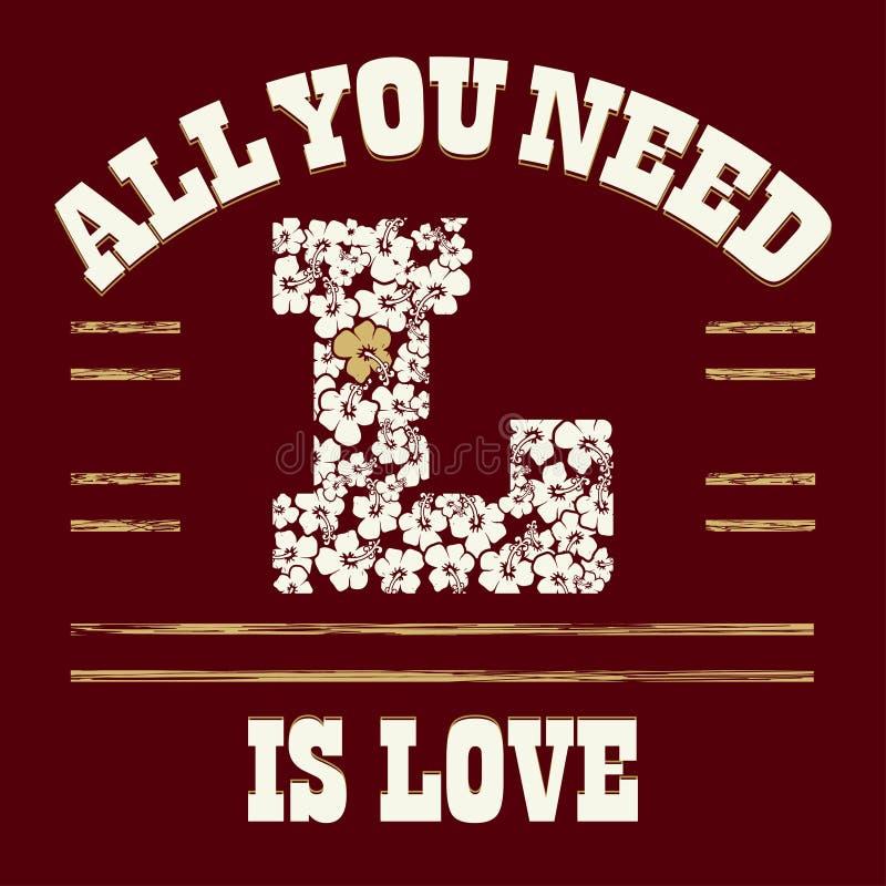 T-shirt do amor ilustração royalty free
