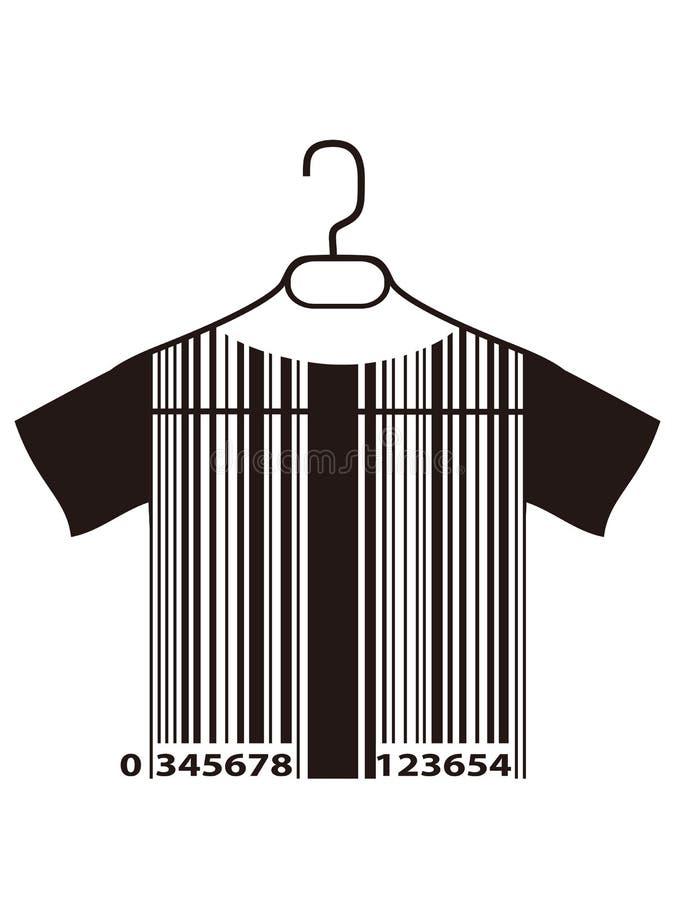 T-shirt do código de barras no gancho de pano ilustração royalty free