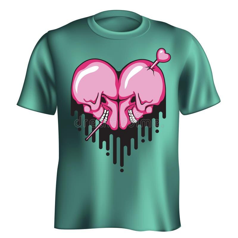 T-shirt do coração do crânio ilustração royalty free