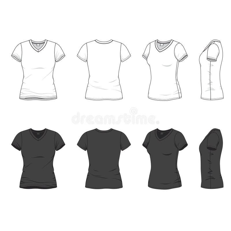 T-shirt do decote em V ilustração do vetor