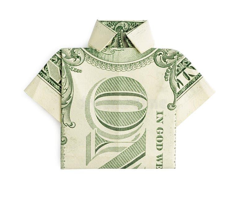 T-shirt do origâmi do dólar isolado fotos de stock royalty free