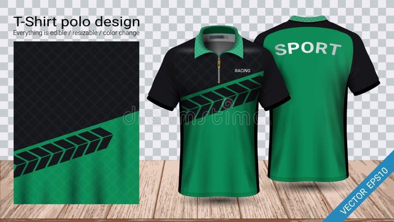 T-shirt do polo com molde do modelo do esporte do zíper, do jérsei de futebol para o jogo do futebol ou uniforme do activewear ilustração do vetor