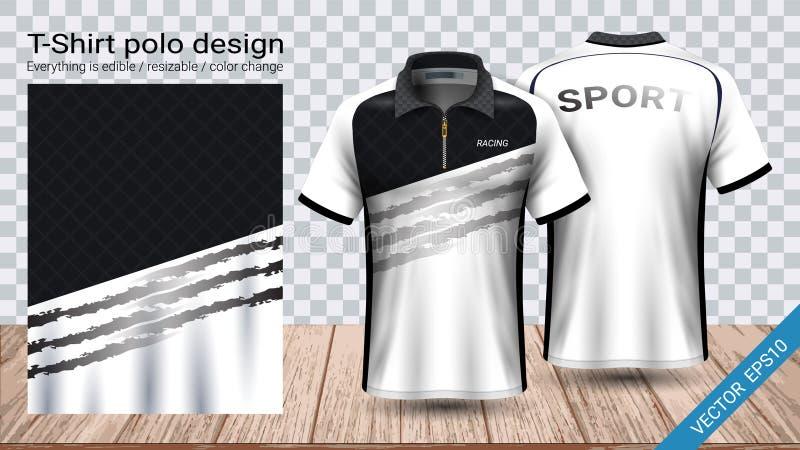 T-shirt do polo com molde do modelo do esporte do zíper, do jérsei de futebol para o jogo do futebol ou uniforme do activewear ilustração stock