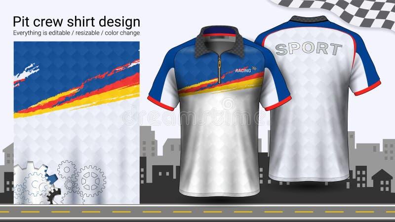 T-shirt do polo com o zíper, competindo o molde do modelo dos uniformes para o desgaste ativo e a roupa dos esportes ilustração royalty free