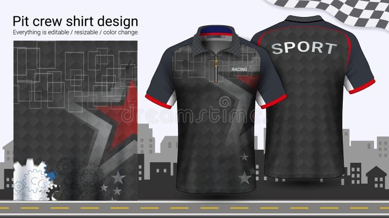 T-shirt do polo com o zíper, competindo o molde do modelo dos uniformes para o desgaste ativo e a roupa dos esportes ilustração stock