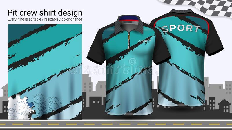 T-shirt do polo com o zíper, competindo o molde do modelo dos uniformes para o desgaste ativo e a roupa dos esportes ilustração do vetor